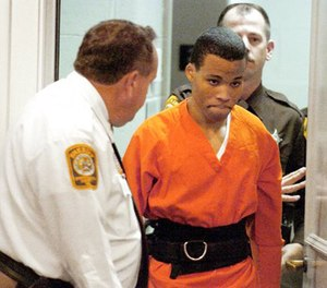 In this Oct. 26, 2004, file photo, Lee Boyd Malvo enters a courtroom in the Spotsylvania, Va., Circuit Court. (Mike Morones/The Free Lance-Star via AP)