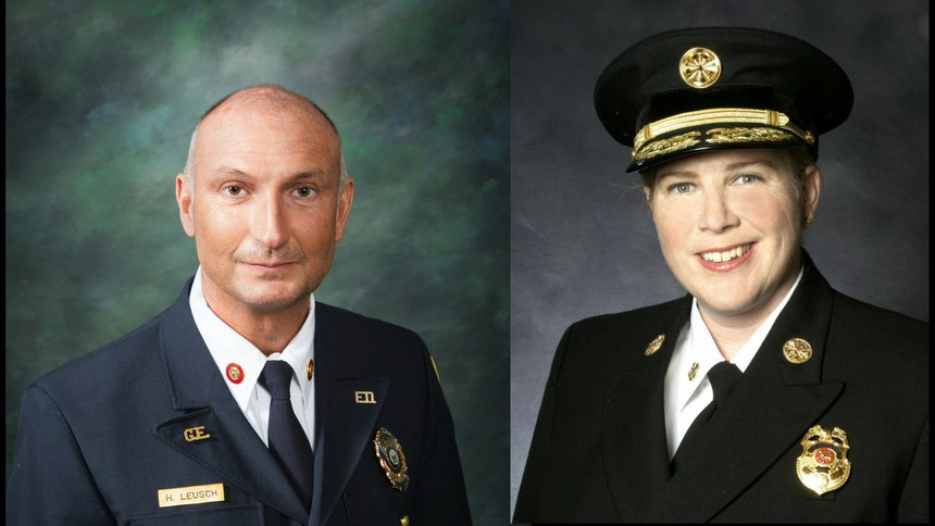 Glen Echo Fire Department Chief Herbert Leusch and San Francisco Fire Department Chief Joanne Hayes-White are the 2018 Fire Chief of the Year honorees.