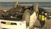 Injured driver kicks EMT after crash on beach
