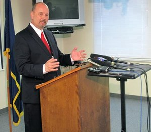 Nebraska Department of Correctional Services Director Scott Frakes addresses the media on Wednesday, June 17, 2015, at the department's administrative office in Lincoln, Neb. (AP Photo/Grant Schulte)