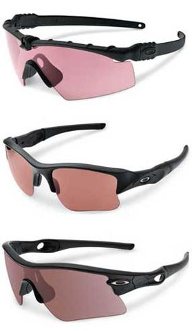 From top to bottom, the Ballistic M, Flak Jacket, and Radar Range frames are shown. (Photo courtesy Oakley)