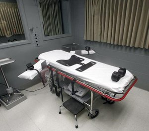 In this Nov. 18, 2011, file photo shows the execution room, at the Oregon State Penitentiary, in Salem, Ore. (AP Photo/Rick Bowmer, File)