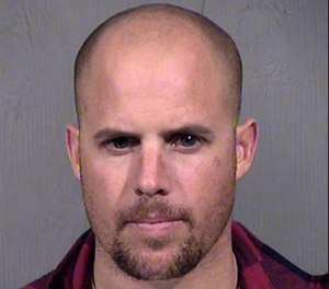 This Jan. 27, 2016, file photo, provided by the Maricopa County Sheriff's Office shows Jon Ritzheimer, who was arrested in Arizona on Jan. 26, 2016, in connection with the occupation of the Malheur National Wildlife Refuge in Oregon. (Maricopa County Sheriffs Office via AP file)