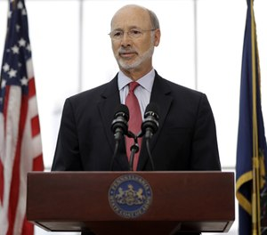Pennsylvania Gov. Tom Wolf speaks during a news conference at the Jordan Medical Education Center Atrium at University of Pennsylvania, Thursday, Aug. 25, 2016 in Philadelphia. (AP Photo/Matt Rourke)