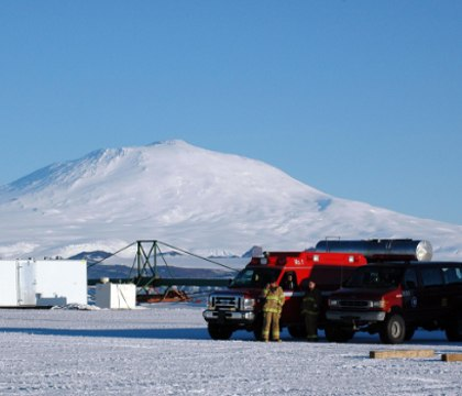Emergency personnel stand by at Pegasus Airfield near McMurdo Station.
