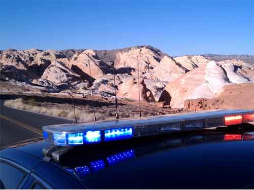 Police car overlooks Valley of Fire State Park