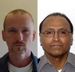 Inmate Daniel Henry (left), who attacked Officer Sam Olivo (right) with a pitchfork on a work duty in Mich. last month