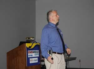 Image Drew JohnsonDwight A. Polk, a paramedic with the University of Maryland Department of Emergency Health Services and volunteer with the Grassroots Crisis Center in Columbia, Maryland, presented on the topic of homeless patients at last week's EMS World Expo in Las Vegas.