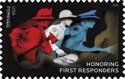 The United States Postal Service will release the new stamp honoring first responders at a dedication ceremony on Sept. 13. (Photo/USPS)