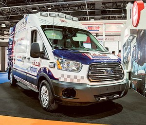 Specially designed ambulances outfitted with Ferno's iNTraxx system will appear at the Arab Health exhibition in Dubai. (Photo/Ferno)