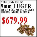 Bulk 9mm 1000rds 115gr FMJ $679.99