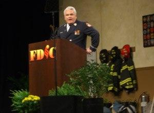Photo Jamie Thompson Lt. Ray McCormack speaks at FDIC in 2009.