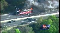 Bus bursts into flames on Mass. turnpike
