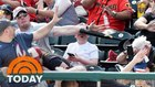 Dad saves son from flying baseball bat
