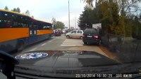 Ambulance uses sidewalk to bypass traffic