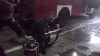 Russian firefighter water bazooka
