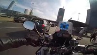 Medic speeds through city on motorbike