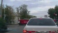 Fire truck hits car, flips