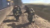 Helmet-cam: Amtrak train crash vs. car fire