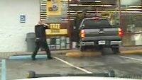 Dash cam captures truck crashing through auto parts store