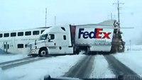 Utah dash cam captures train crashing into FedEx truck