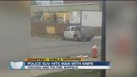 Buffalo police SUV hits man with knife