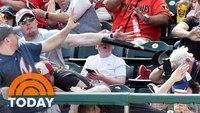 Dad saves son from flying baseball bat