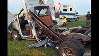 Ambulance destroyed after intersection collision