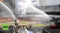 Ukraine firefighters feared dead after fuel depot explosion