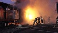 FedEx truck bursts into flames on NJ highway