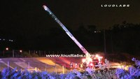 Ladder truck hits power lines at Calif. house fire