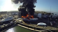 Drone catches massive fire of $24M yacht