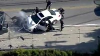 Man and son flee car after pursuit suspect causes head on crash