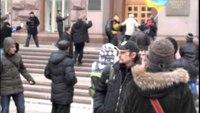 Protesters fight Ukraine police with bulldozer