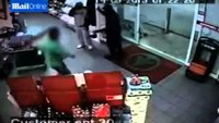 Shop keeper fights off knife-wielding robber with shoe