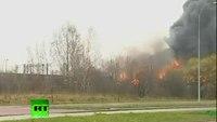 Huge explosion as trains crash