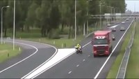 European motorcycle cop struck by vehicle