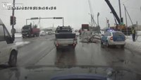 Officer nearly crushed by dropped crane load