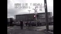 Moving train ends police pursuit