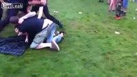 Police take down brawlers at festival