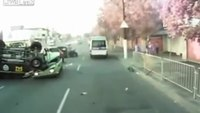 Police vehicle flips and crushes car