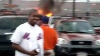 Car fire at Shea Stadium