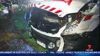 Medic injured after crashing ambulance into carport