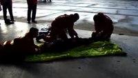 Air ambulance paramedic demonstration