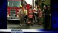 Firefighter falls after aerial ladder collapses