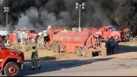 Okla. firefighters battling oil rig fire