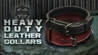 "Heavy Duty Leather Dog Collars | Mil-spec 1 1/4"" and 2"" Latigo K9 Collars"