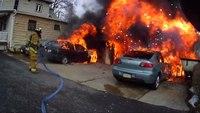 Helmet cam: Garage fire in Pa.