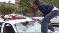Comedians smash patrol cars on NY street