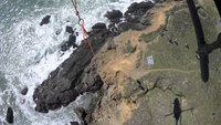 Video: Rescuers use helicopter to save dog from 90-foot cliff
